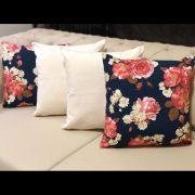 Kit 4 Capas de Almofadas Composê  Floral Imperial Azul Marinho e Linho