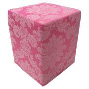 Puff Jacquard Quadrado Rosa Forte