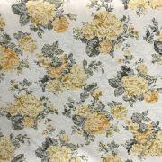 Tecido Jacquard Estampado Floral Amarelo - 2,80m de Largura