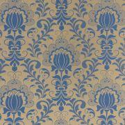 Tecido Jacquard Floral Azul com Dourado 2.80m de Largura
