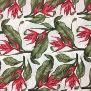 Tecido Jacquard Estampado Floral Vermelho - 1.40m de Largura