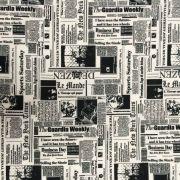 Tecido Gorgurinho Estampado Jornal 1.50m de Largura