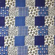 Tecido Tricoline Abare PatchWork Azul - 1,50m de Largura