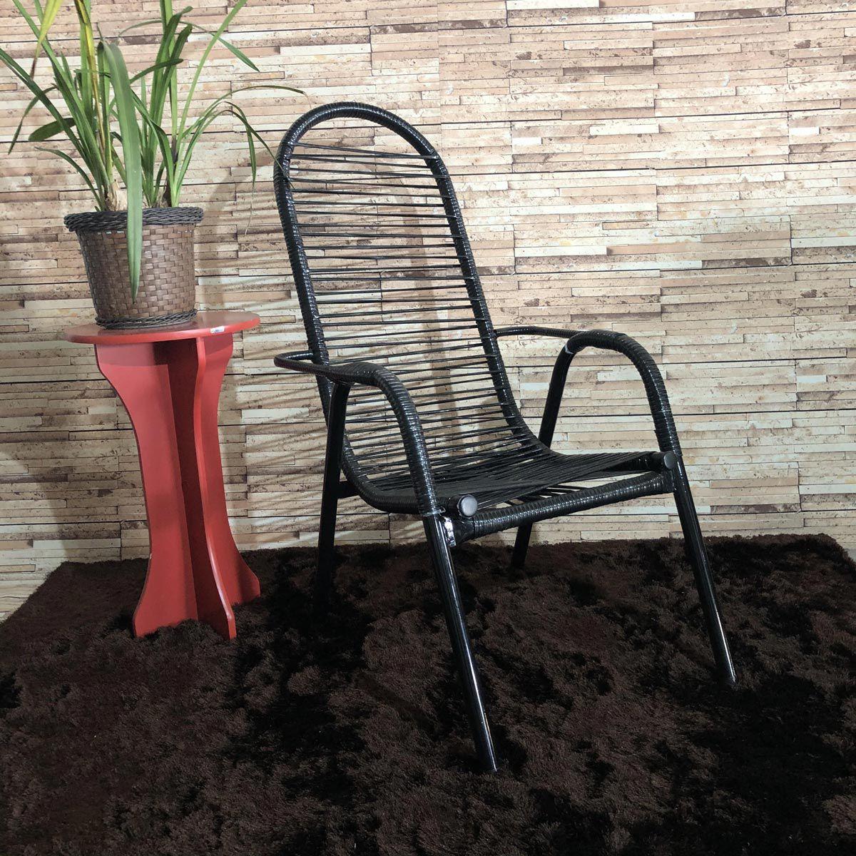 Cadeira de Área Maitê Fio Duplo Extra Forte - Preta