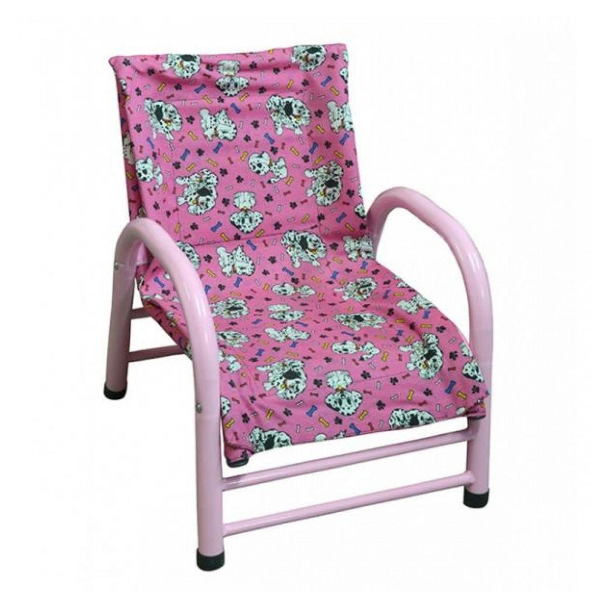 Cadeira Infantil de Aço Revestida em Tecido Rosa