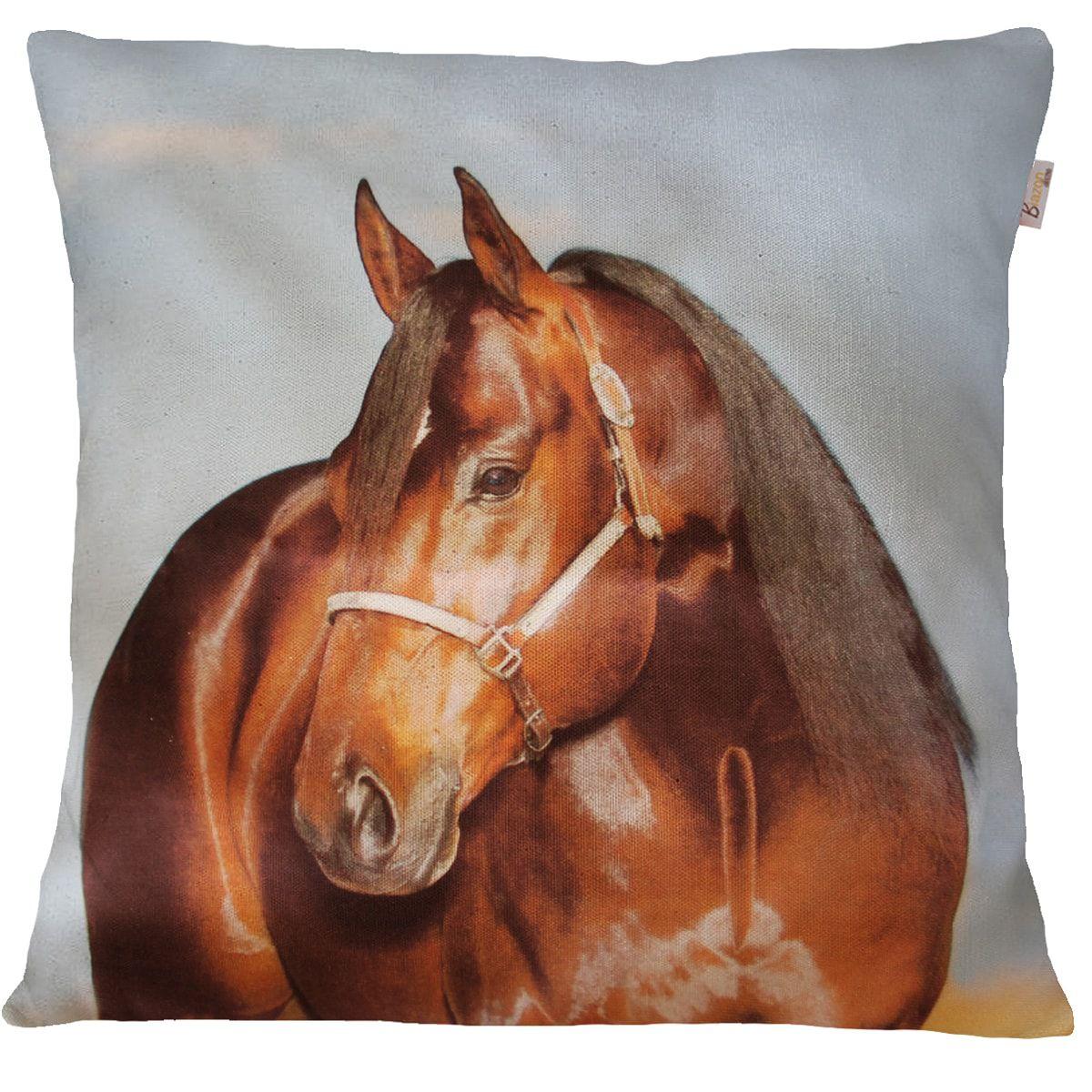 Capa de Almofada Decorativa Animais Cavalo Marrom 45x45cm