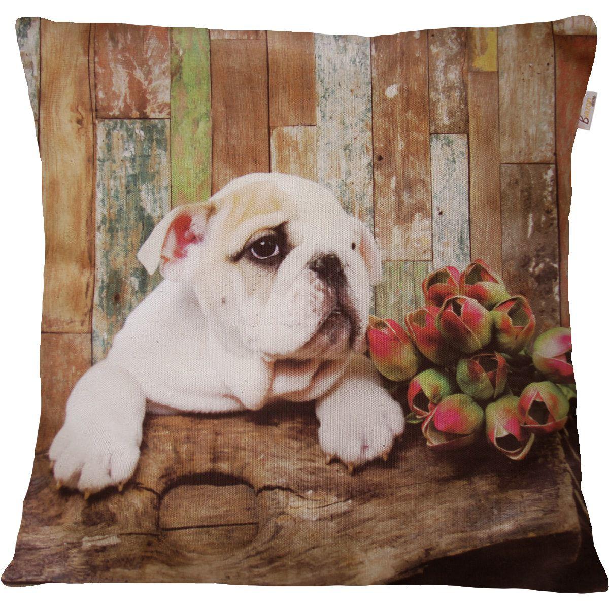 Capa de Almofada Decorativa Animal Bulldog 45x45cm