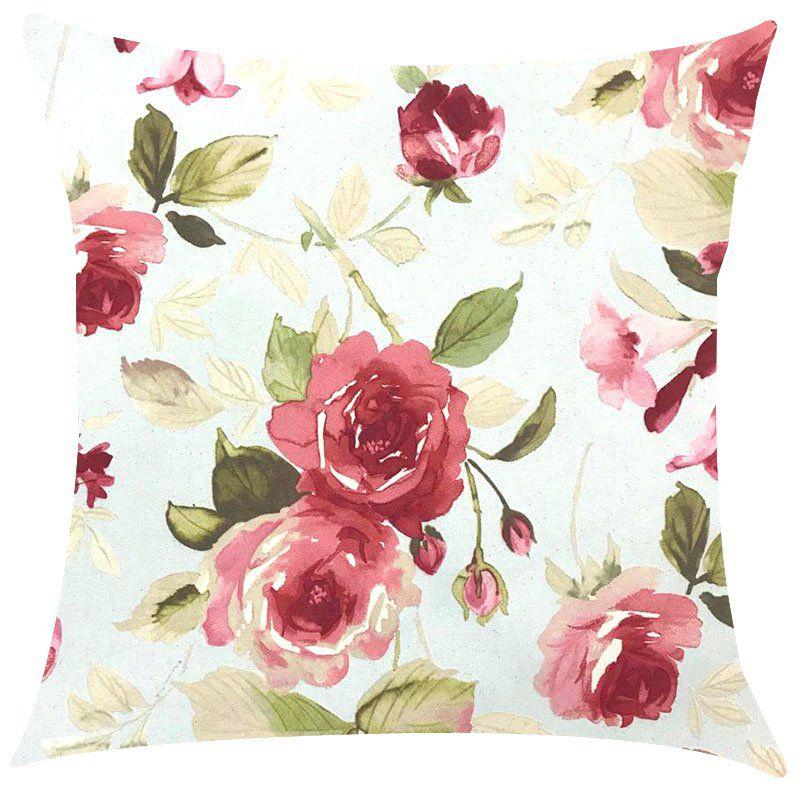 Capa de Almofada Floral Vermelho Impermeável 45x45cm