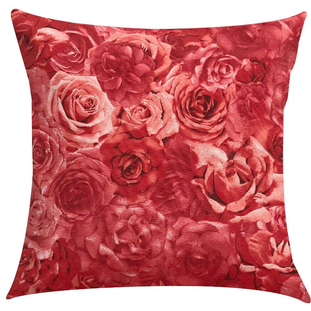 Capa de Almofada Jacquard Estampado Floral Rosas Vermelhas 45x45cm