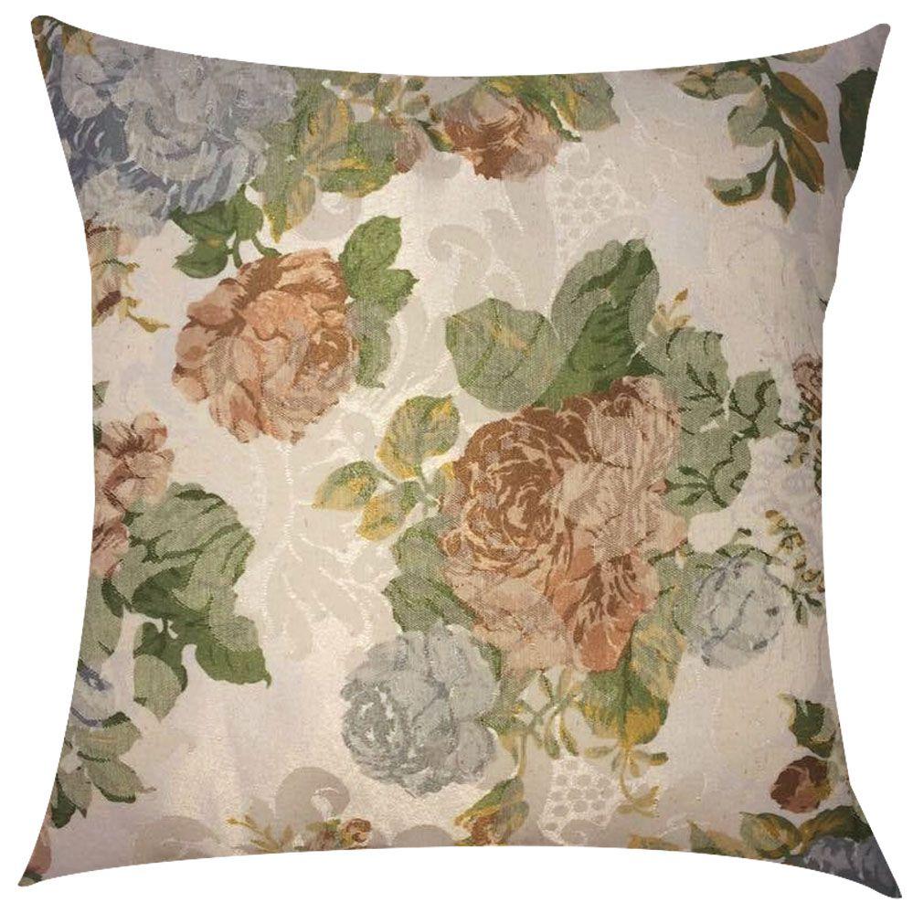 Capa de Almofada Jacquard Floral Rosas 45x45cm