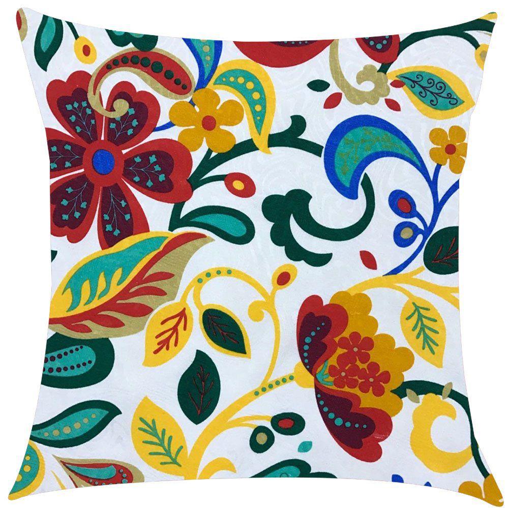 Capa de Almofada Jacquard Floral 45x45cm
