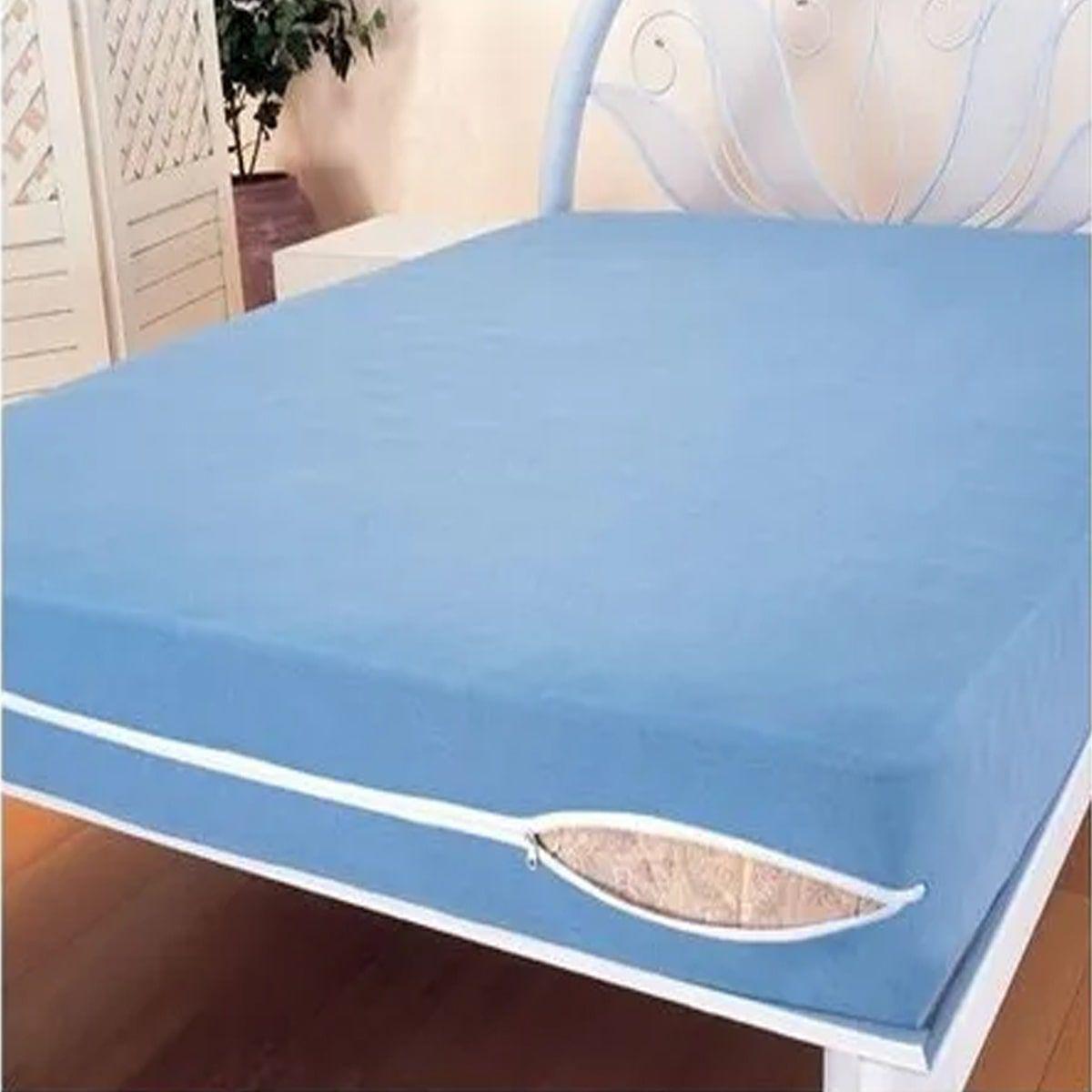 Capa Para Colchão de Solteiro Azul - 1,88m x 88cm de Largura