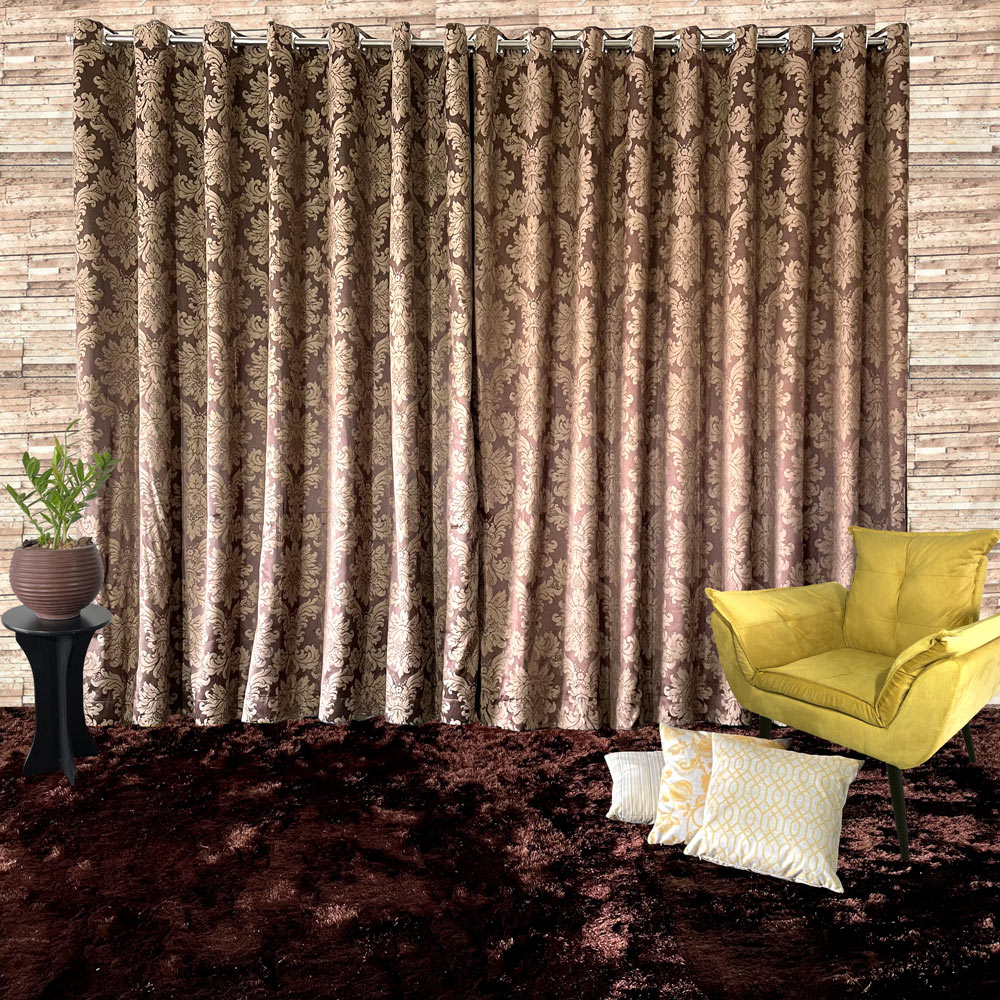 Cortina Jacquard Blackout Marrom 2,80m X 2,30m