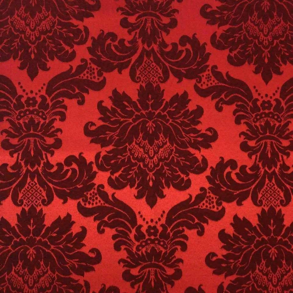 Cortina Jacquard Blackout Vermelho c/ Preto 2,80m X 2,30m