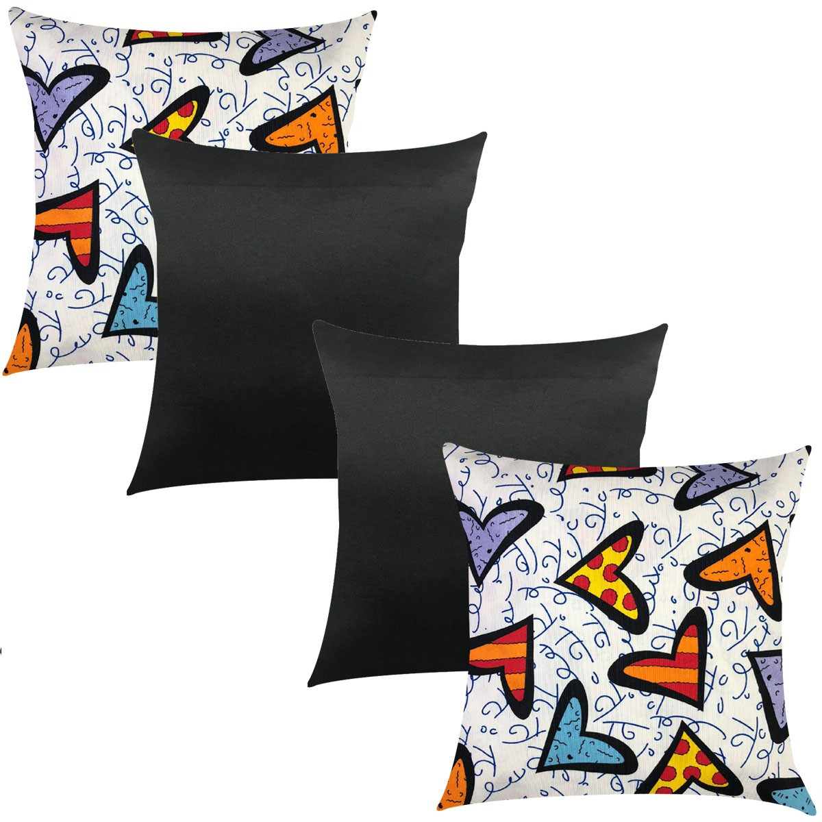 Kit 4 Capas de Almofadas Composê Coração e Preto Liso 45cmx45cm