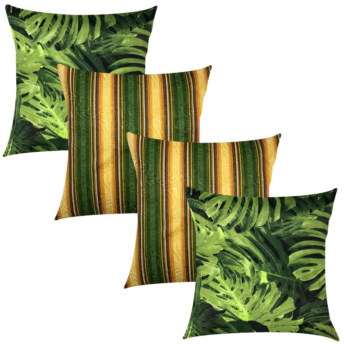 Kit 4 Capas de Almofadas Composê Costela de Adão e Listrado Verde e Amarelo 45cmx45cm