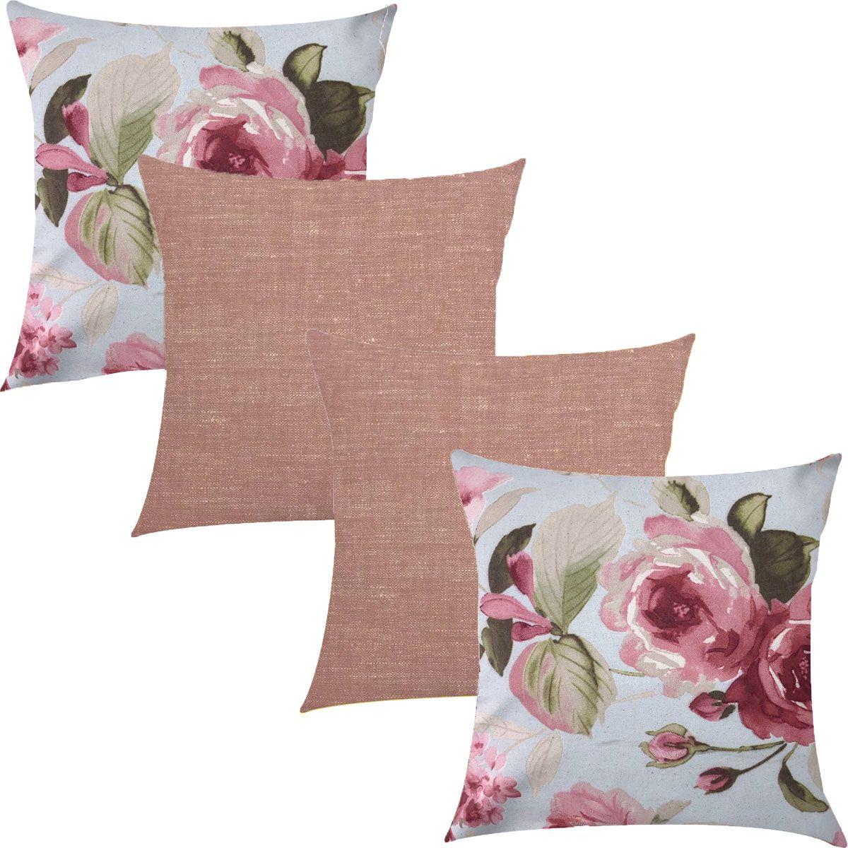 Kit 4 Capas de Almofadas Composê  Floral e Textura Rosê 45x45cm
