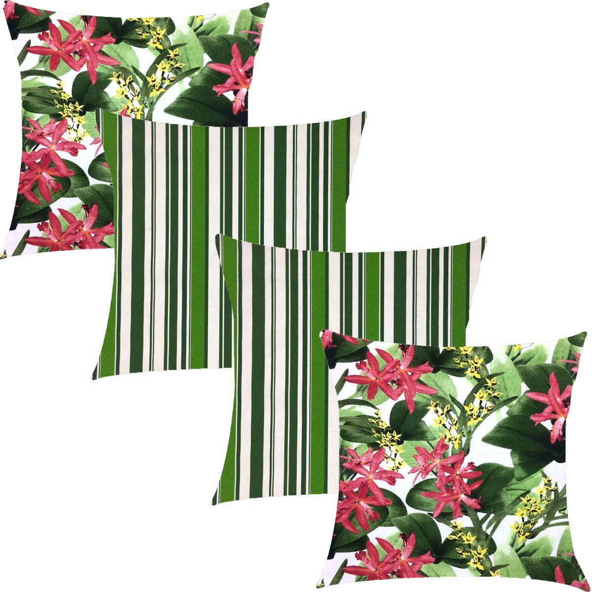 Kit 4 Capas de Almofadas Composê Juriti Floral com Listrado Verde 45x45cm