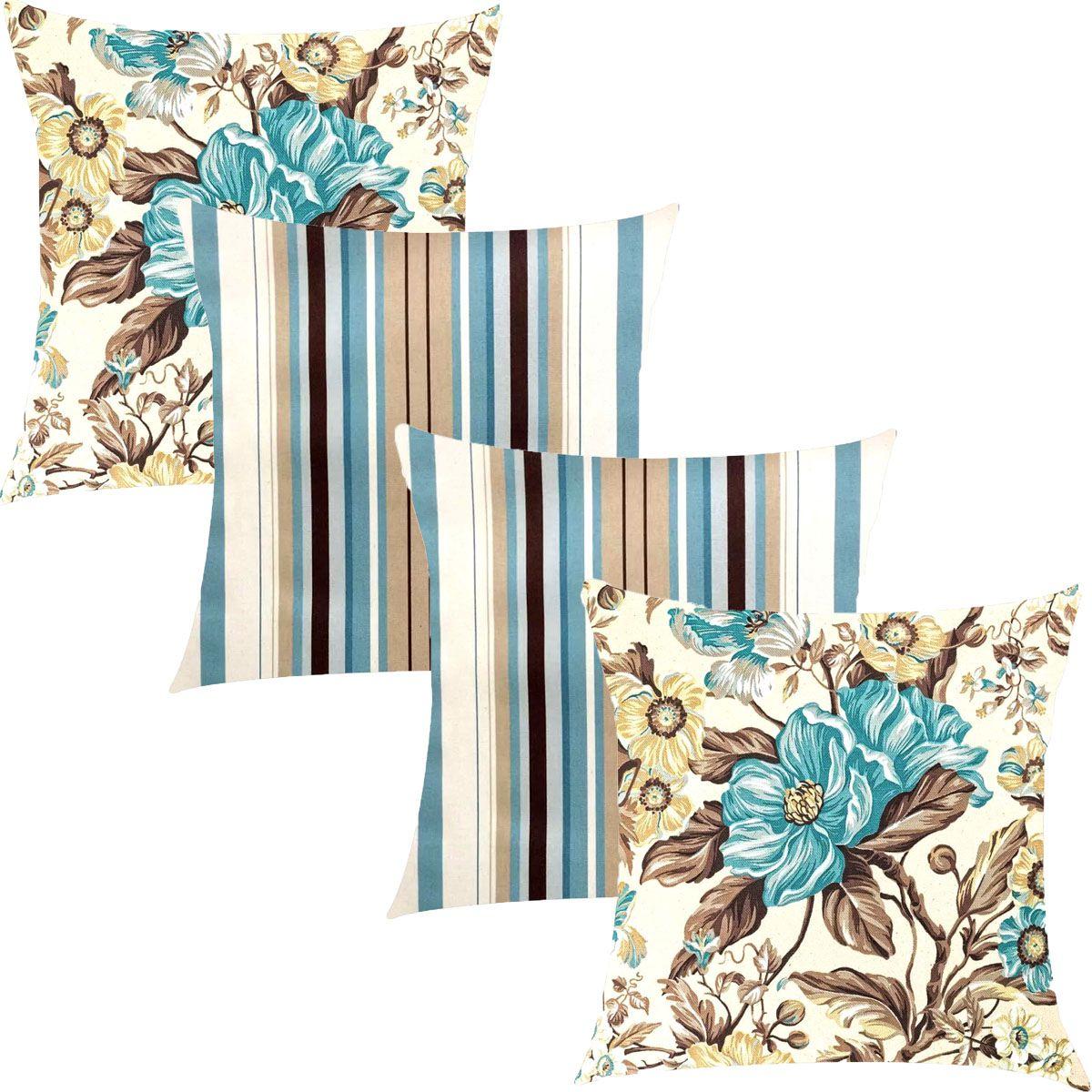 Kit 4 Capas de Almofadas Composê Ônix Floral e Listrado Azul 45x45cm