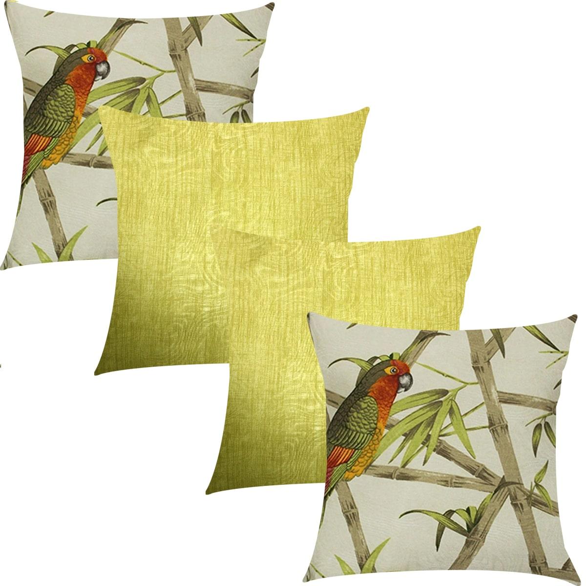 Kit 4 Capas de Almofadas Composê Pássaros e Amarelo Liso 45cmx45cm