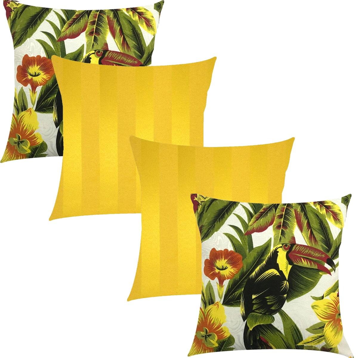 Kit 4 Capas de Almofadas Composê Tucano e Amarelo Listrado 45cmx45cm