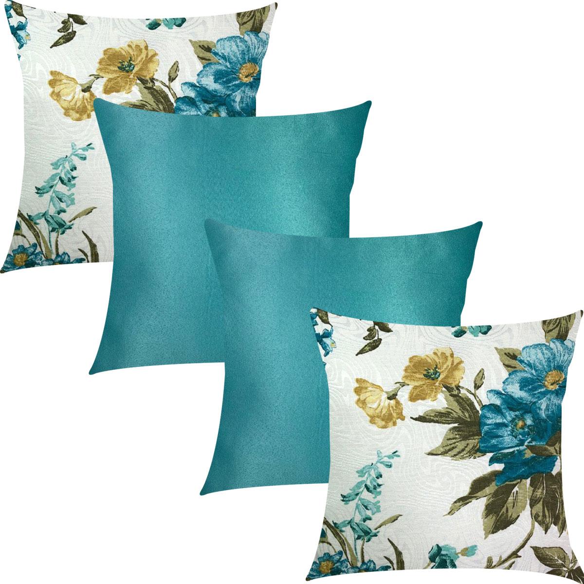 Kit 4 Capas de Almofadas Floral Azul Celeste e Tiffany Liso 45cmx45cm