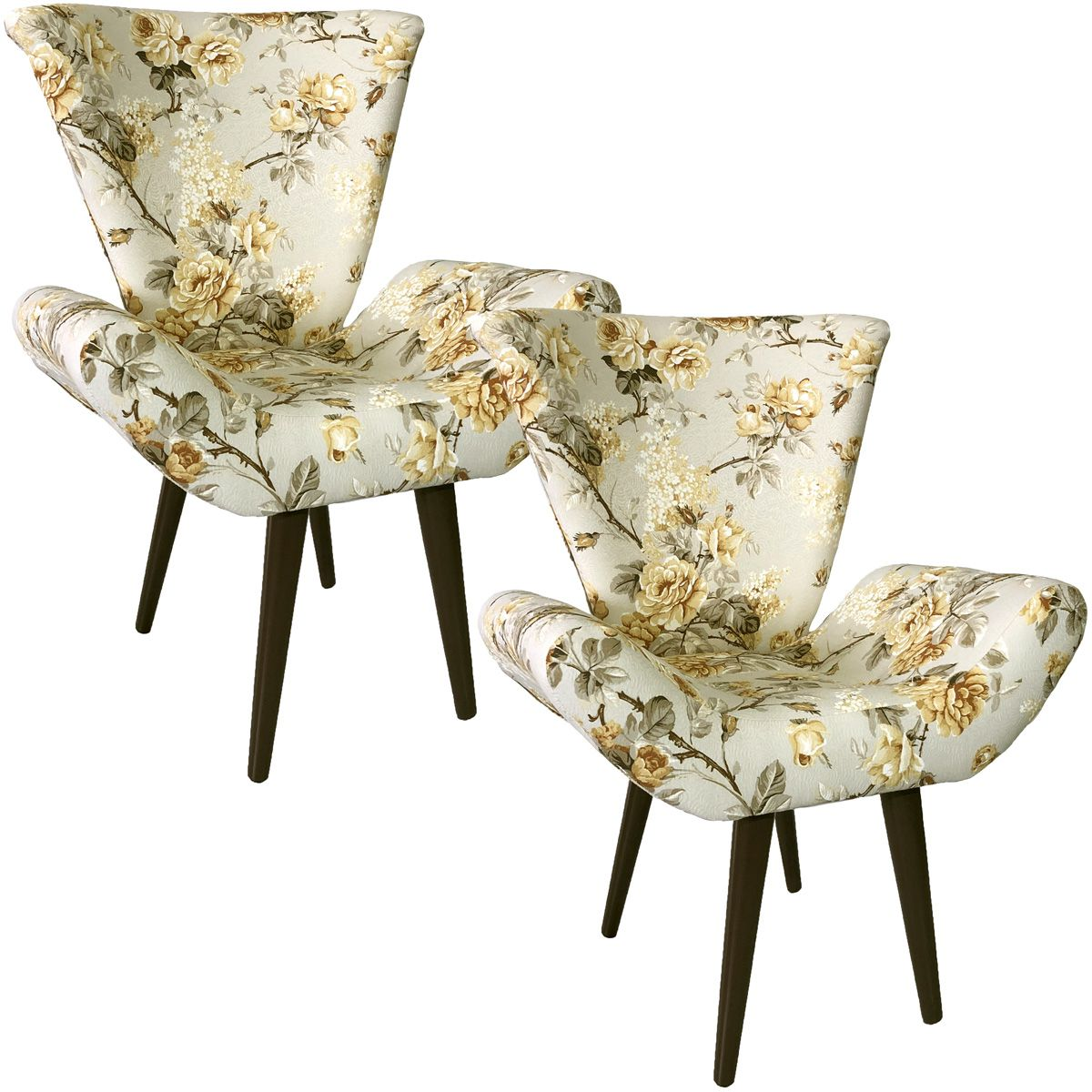 Kit Duas Poltronas Decorativa Elegance Grace Amarelo Impermeável