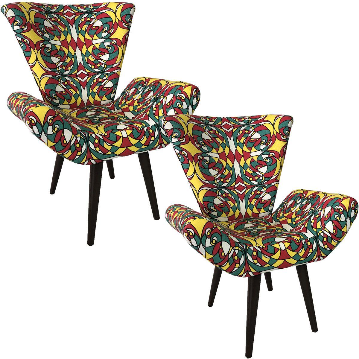 Kit Duas Poltronas Decorativa Elegance Romero Britto