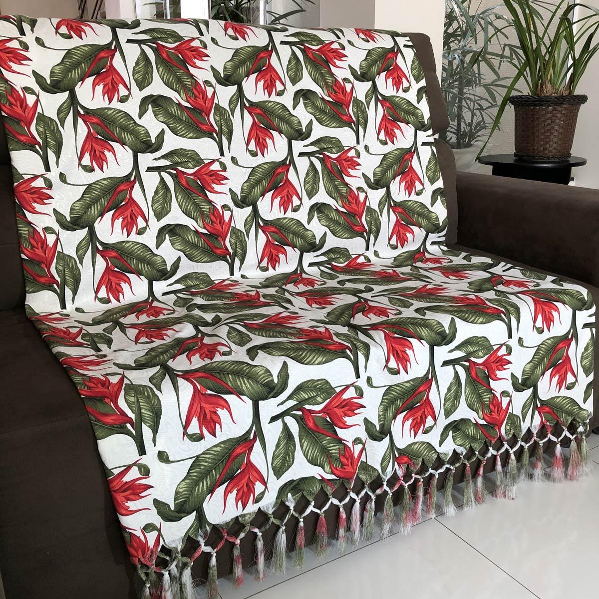 Manta Para Sofá em Tecido Jacquard Floral 190x140cm