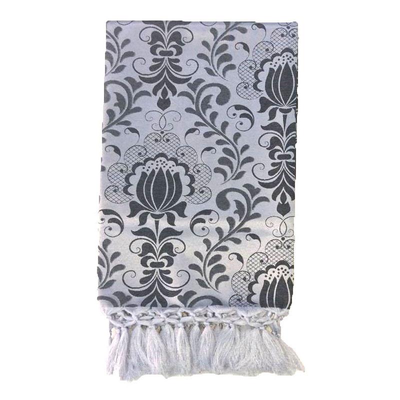 Manta Para Sofá em Tecido Jacquard Floral Preto e Prata 190x140cm
