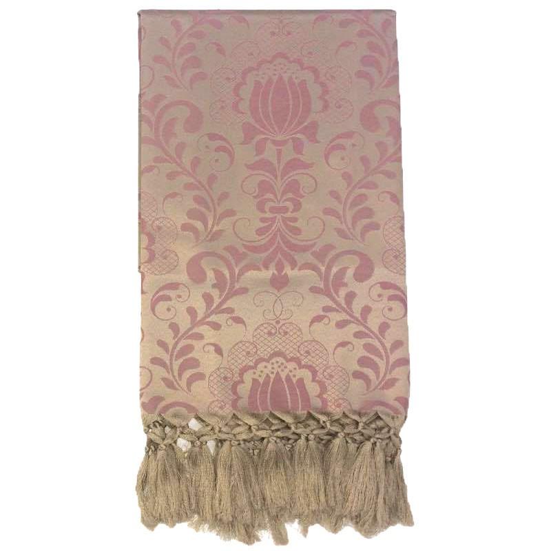 Manta Para Sofá em Tecido Jacquard Floral Rosa com Dourado 190x140cm