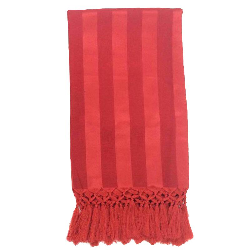 Manta Para Sofá em Tecido Jacquard Listrado Vermelho 190x140cm