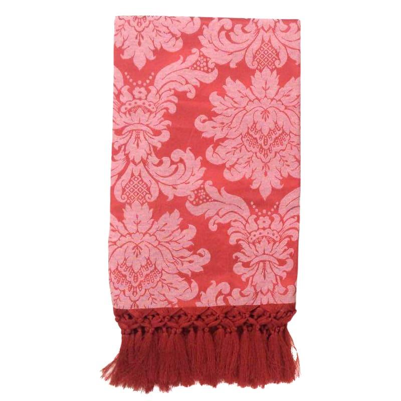 Manta Para Sofá em Tecido Jacquard Medalhão  Vermelho com Branco 190x140cm