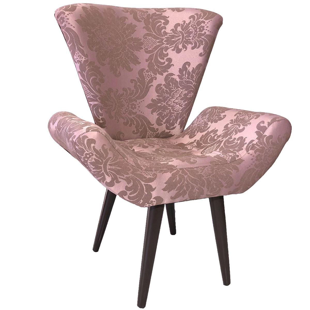 Poltrona Decorativa Elegance Jacquard Luxo Rosê Gold