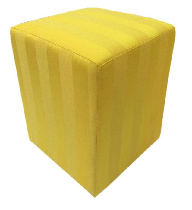 Puff Quadrado Jacquard Amarelo Listrado