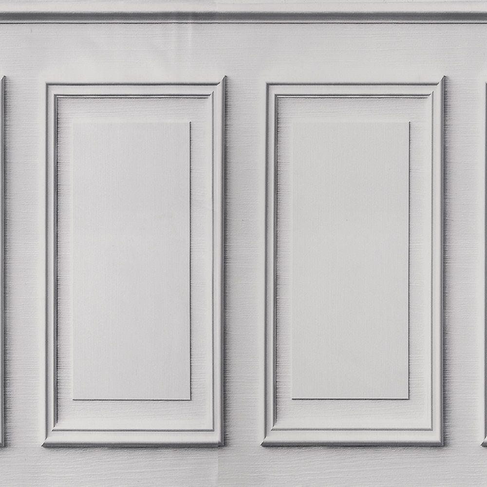 Tecido de Parede Boiserie Branco - 1,44m de Largura