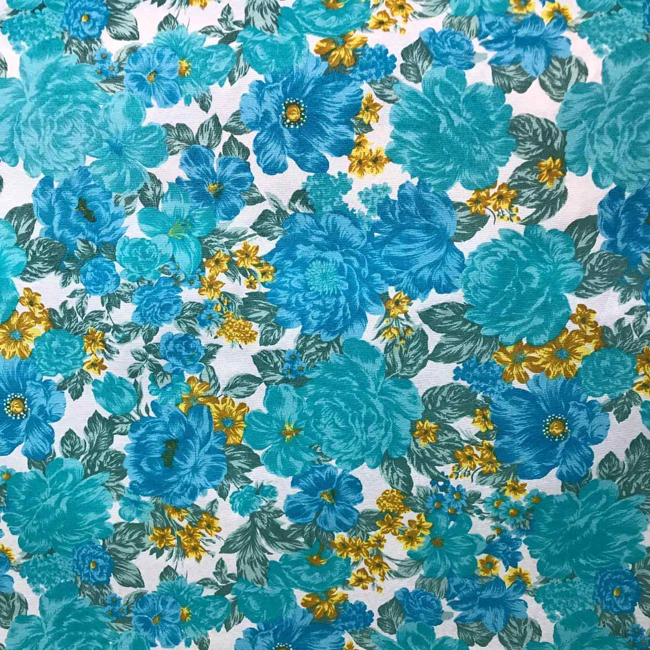 Tecido Gorgurinho Estampado Flores Verde e Azul - 1,50m de Largura