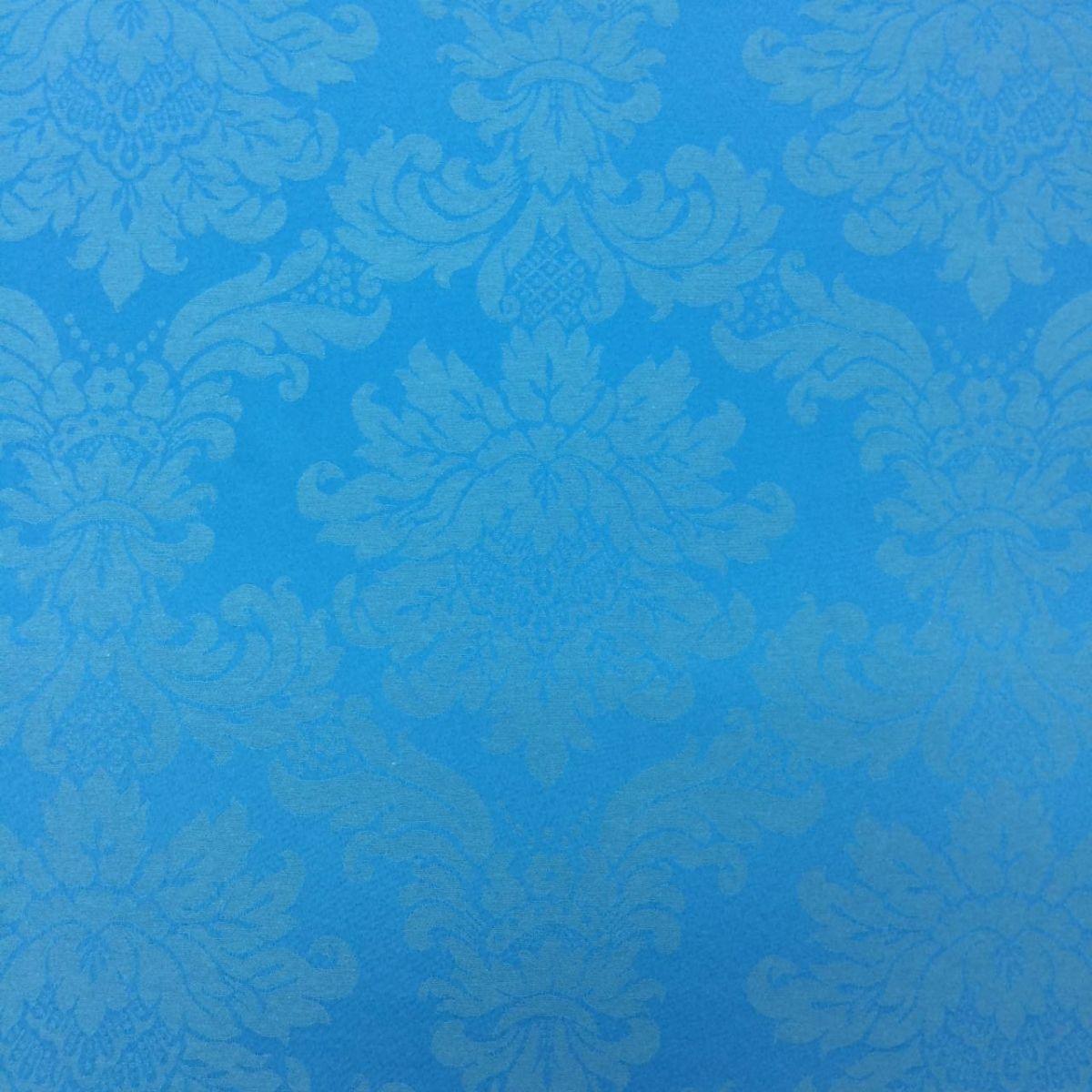 88e4d80622131 Tecido Jacquard Azul Turquesa Medalhão 2.80m de Largura
