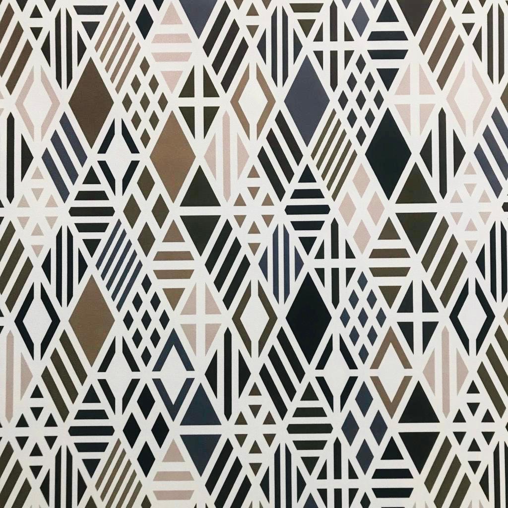 Tecido Jacquard Cotone Estampado Geométrico Bege com Branco - 1,40m de Largura
