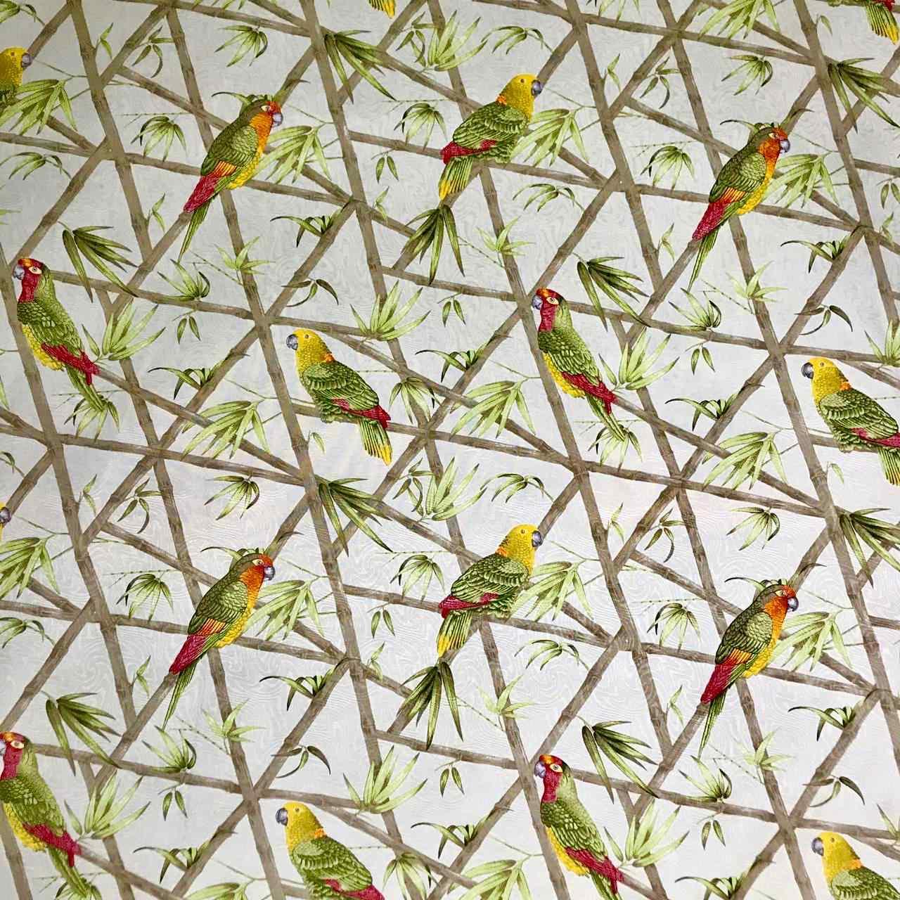 Tecido Jacquard Estampa Papagaios - 1.40m de Largura
