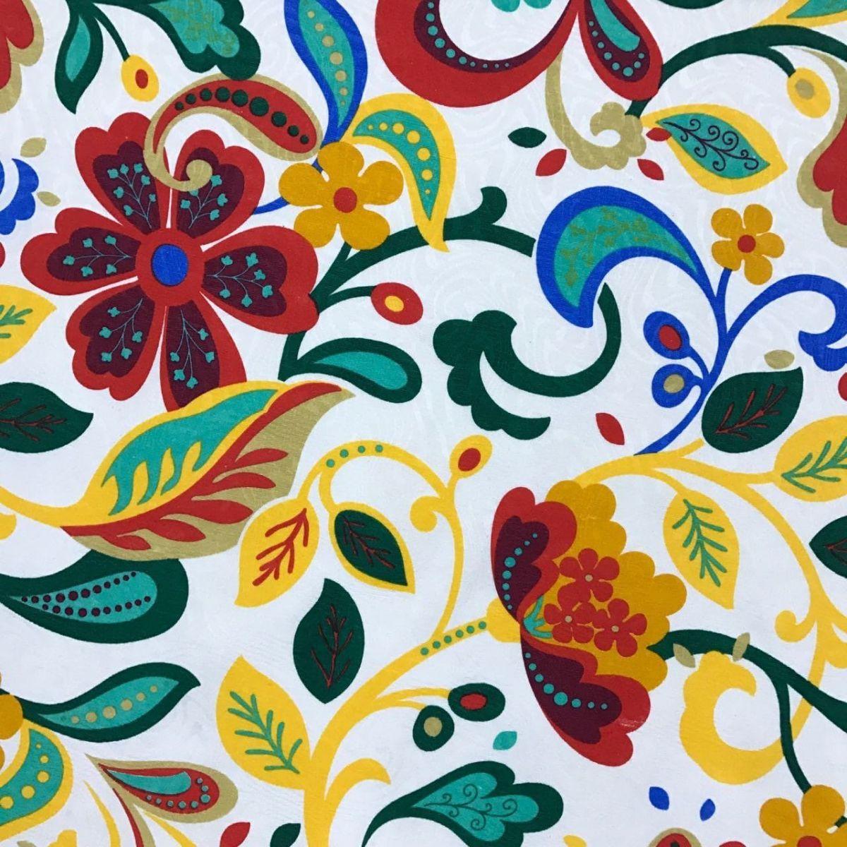 Tecido Jacquard Estampado Floral Color - 1.40m de Largura