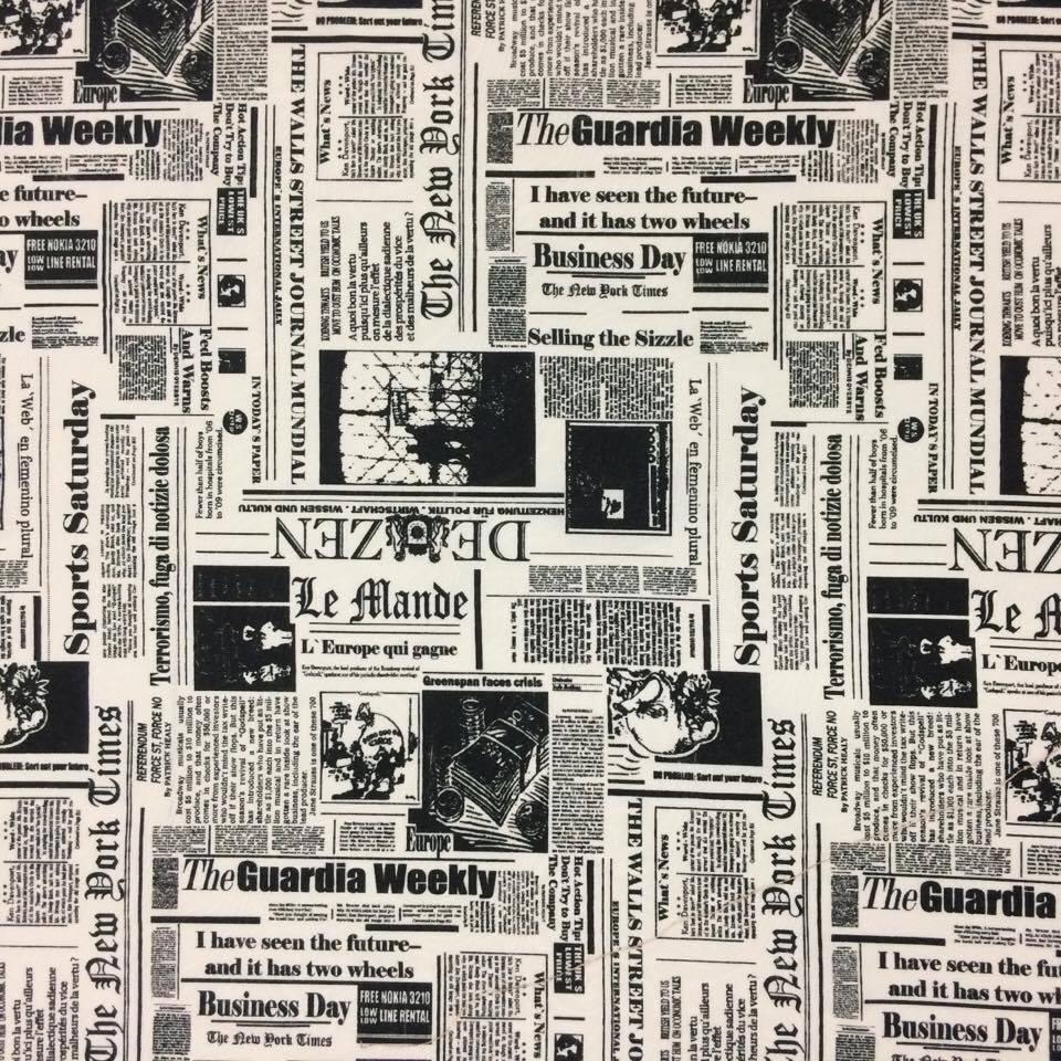 Tecido Jacquard Estampado Jornal - 1.40m de Largura