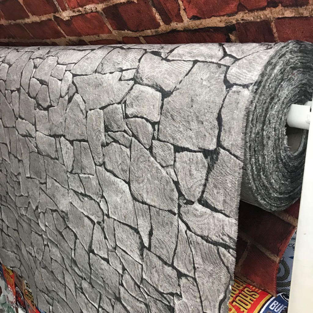Tecido Jacquard Estampado Parede Pedra Cinza - 1.40m de Largura