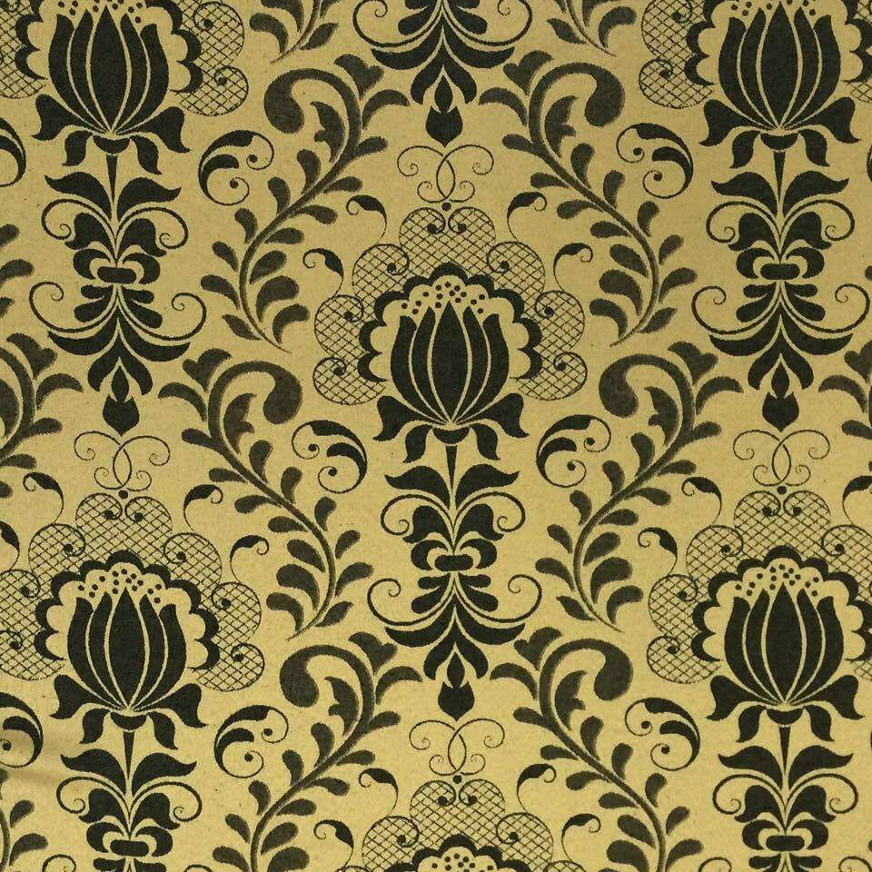 Tecido Jacquard Floral Preto com Dourado 2.80m de Largura