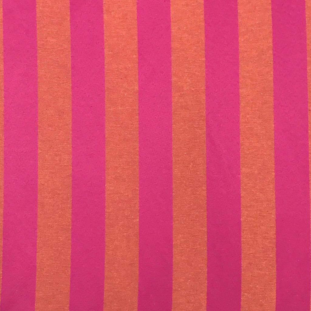 Tecido Jacquard Pink com Laranja Listrado 2.80m de Largura