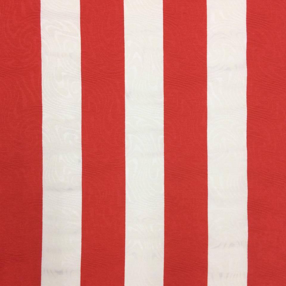 Tecido Jacquard Estampado Circo Vermelho e Branco Listrado - 1.40m de Largura