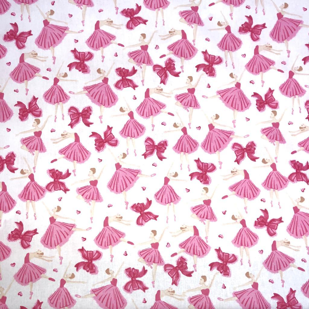 Tecido Tricoline Bailarinas Rosas Fundo Branco - 1,50m de Largura