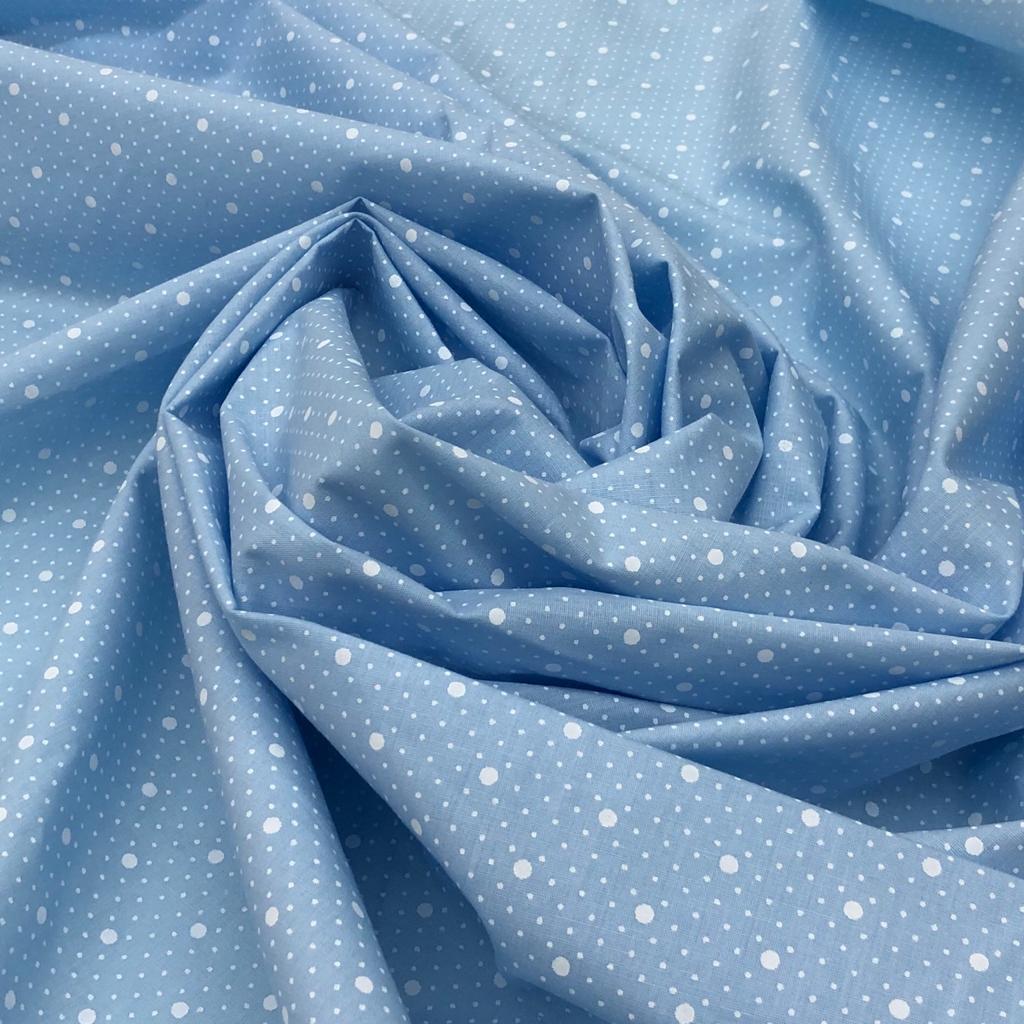 Tecido Tricoline Poá Branco e Fundo Azul - 1,50m de Largura