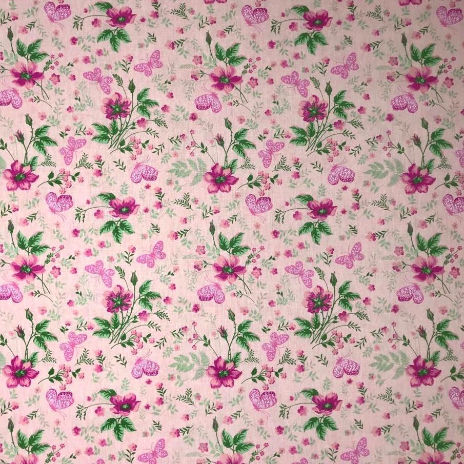 Tecido Tricoline Borboletas Rosas - 1,50m de Largura