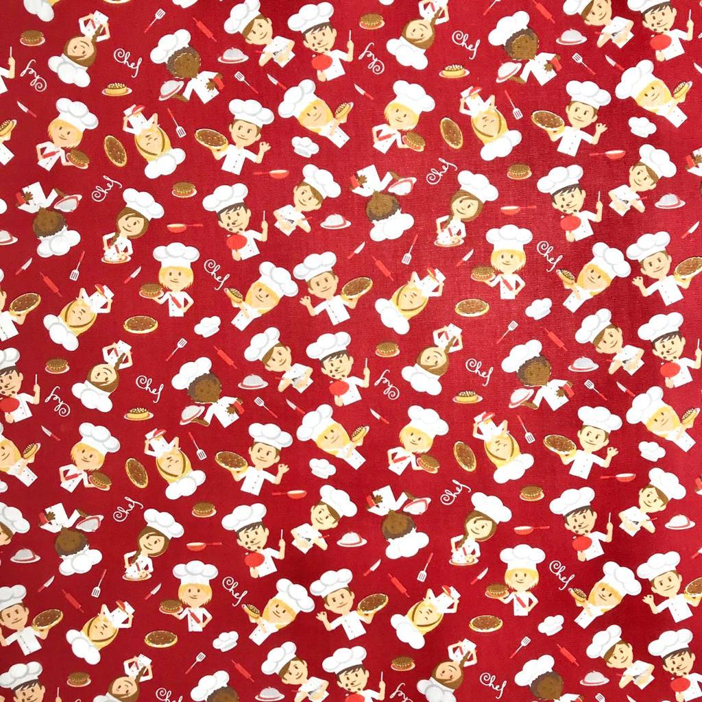 Tecido Tricoline Chefinho Fundo Vermelho - 1,50m de Largura